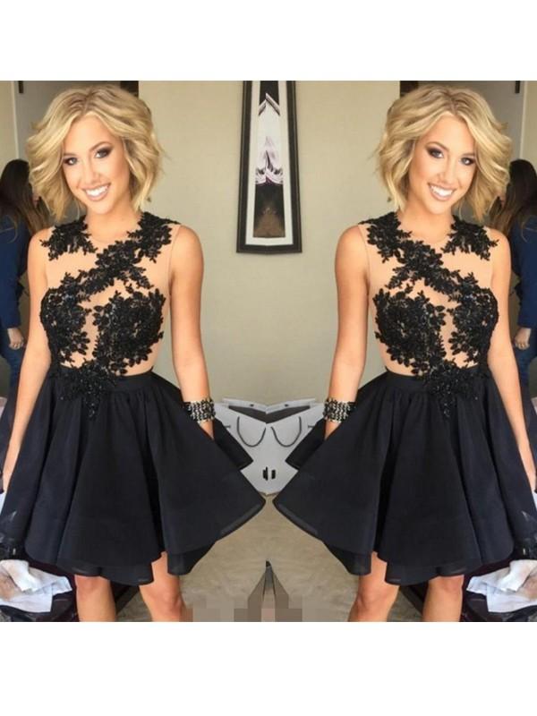 Efflorescent Dreams Princess Style Scoop Lace Chiffon Short/Mini Dresses