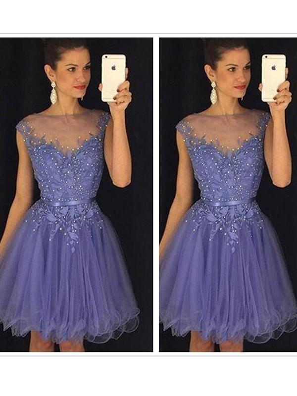 Sweet Sensation Princess Style Scoop Applique Tulle Short/Mini Dresses
