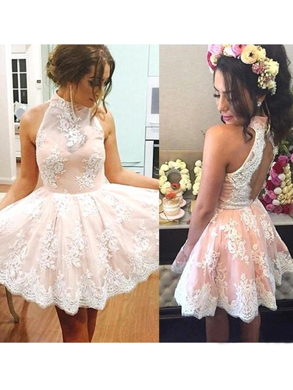 Festive Self Princess Style High Neck Lace Short/Mini Dresses