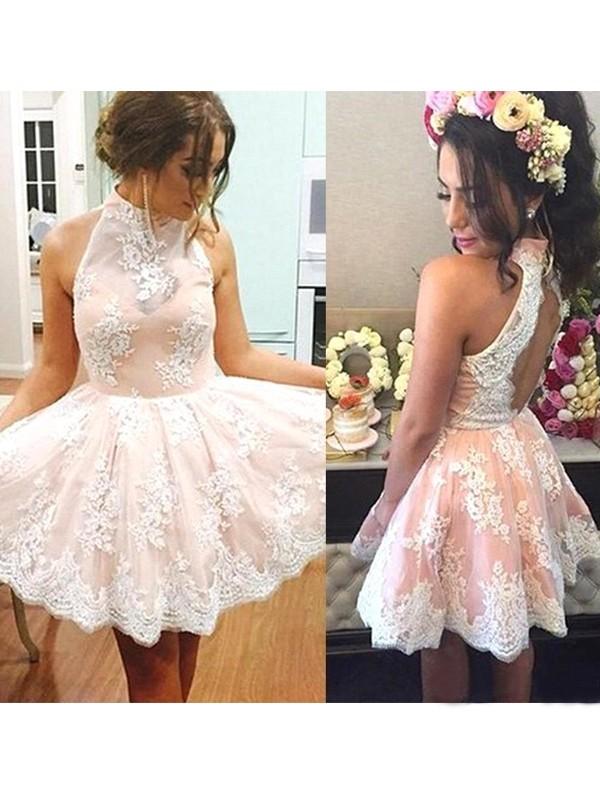 Festive Self Princess Style High Neck Lace Short/Mini Dresses
