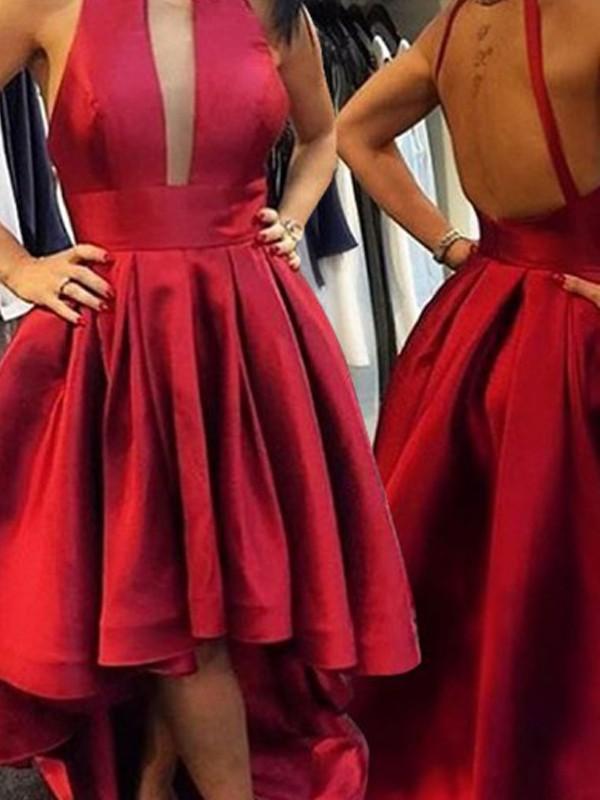 Confident Option Princess Style Halter Satin Asymmetrical Dresses