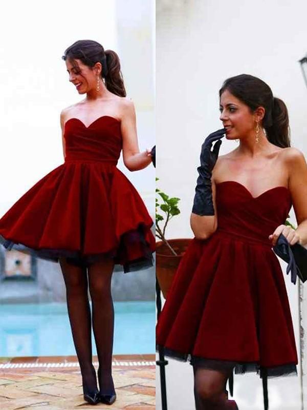 Fabulous Fit Princess Style Sweetheart Satin Short/Mini Dresses