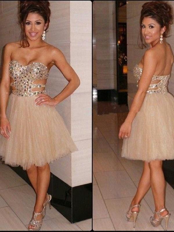 Cheerful Spirit Princess Style Sweetheart Sequin Tulle Short/Mini Dresses