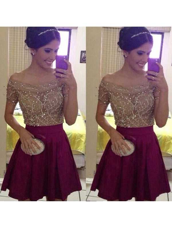 Too Much Fun Princess Style Off-the-Shoulder Beading Satin Short/Mini Dresses