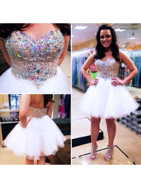 Romantic Vibes Princess Style Sweetheart Beading Tulle Short/Mini Dresses