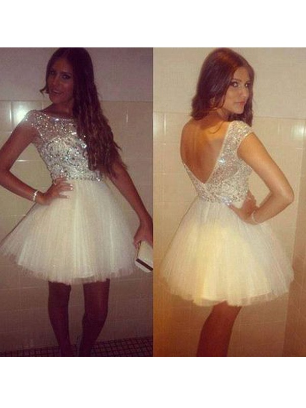 Defined Shine Princess Style Scoop Beading Tulle Short/Mini Dresses