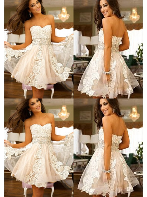 Beautiful You Princess Style Sweetheart Applique Tulle Short/Mini Dresses