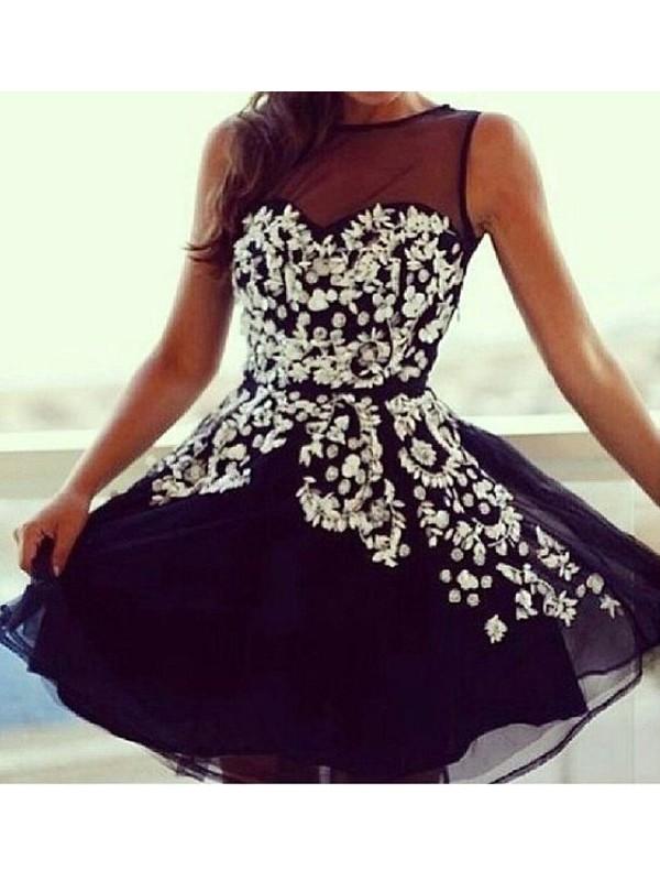 Touch of Texture Princess Style Scoop Applique Tulle Short/Mini Dresses