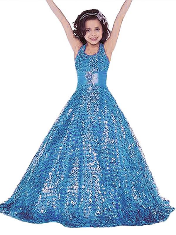 Glitz the Spot Ball Gown Halter Floor-Length Sequins Flower Girl Dresses