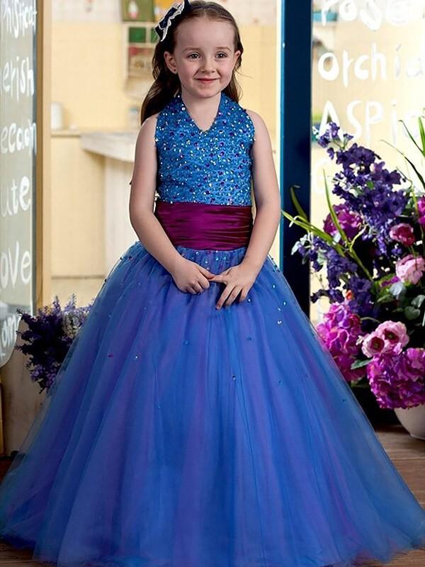 Desired Spotlight Ball Gown Halter Floor-Length Sequins Tulle Flower Girl Dresses