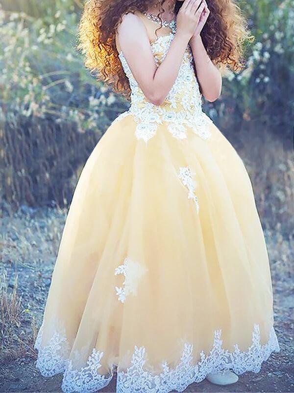 Glitz the Spot Ball Gown Jewel Applique Floor-Length Tulle Flower Girl Dresses