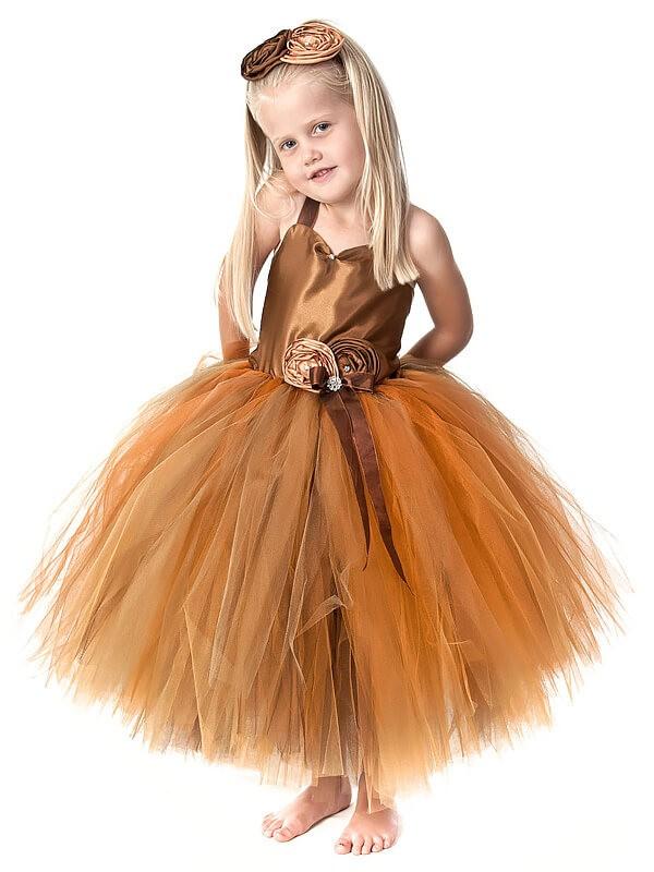 Absolute Lovely Ball Gown Straps Hand-Made Flower Tea-Length Tulle Flower Girl Dresses