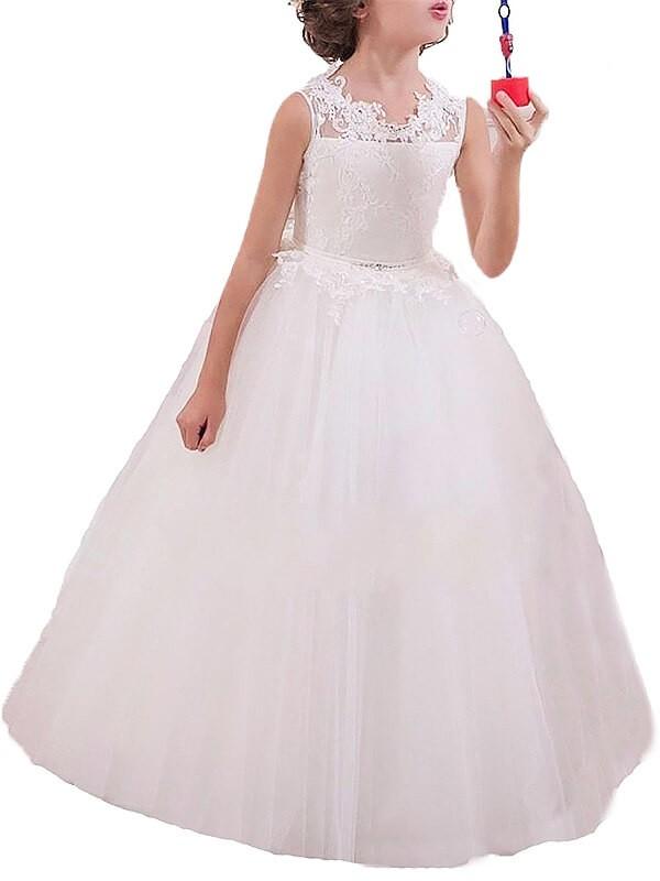 Limitless Looks Ball Gown Jewel Applique Floor-Length Tulle Flower Girl Dresses