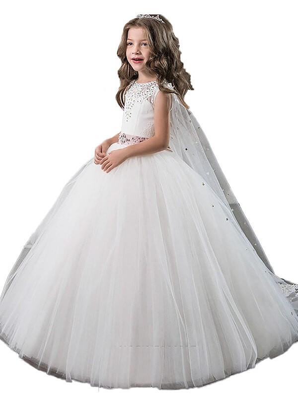 Desired Spotlight Ball Gown Jewel Beading Floor-Length Tulle Flower Girl Dresses