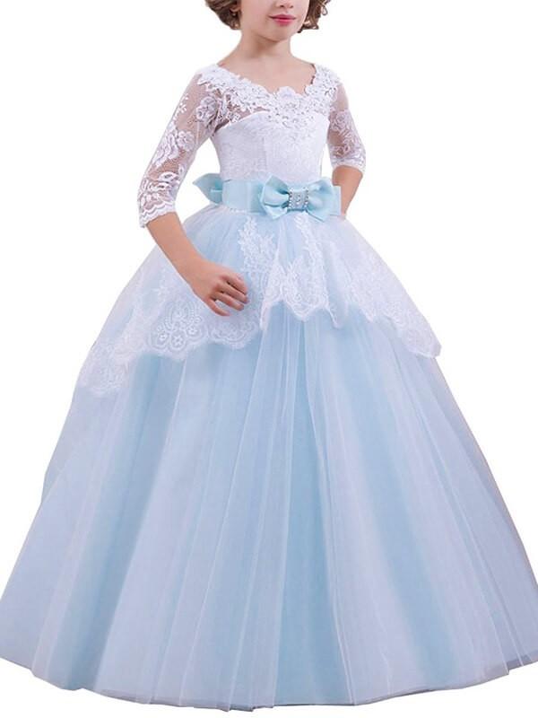 Sweet Sensation Ball Gown Jewel Lace Floor-Length Tulle Flower Girl Dresses