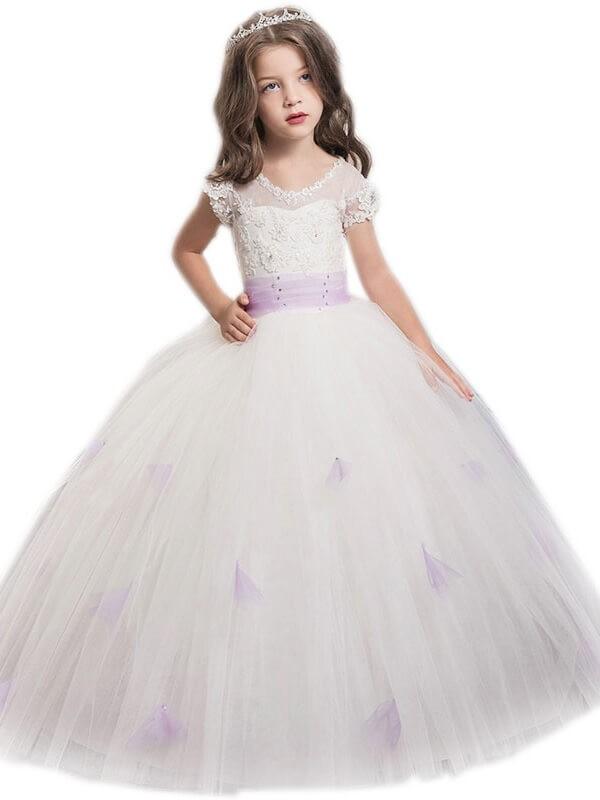 Styled to Smile Ball Gown Jewel Sash/Ribbon/Belt Floor-Length Tulle Flower Girl Dresses