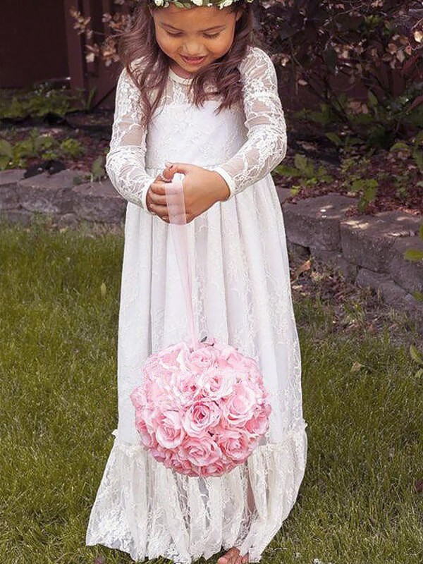 Visual Moment Princess Style Jewel Bowknot Lace Floor-Length Flower Girl Dresses