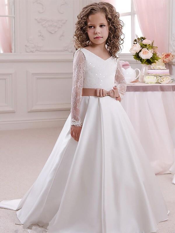 Open to Adoration Ball Gown V-neck Lace Floor-Length Satin Flower Girl Dresses