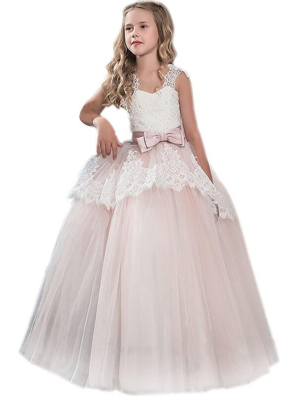 Defined Shine Ball Gown Sweetheart Bowknot Floor-Length Tulle Flower Girl Dresses