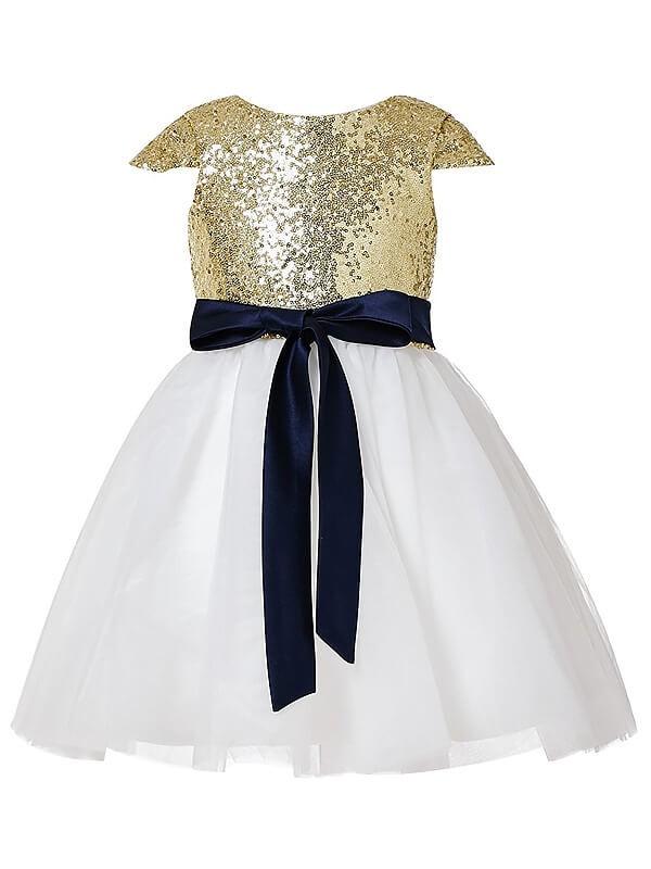Easily Adored Princess Style Jewel Sequins Tulle Tea-Length Flower Girl Dresses