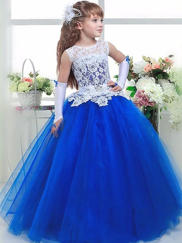 Naturally Chic Ball Gown Jewel Lace Floor-Length Tulle Flower Girl Dresses