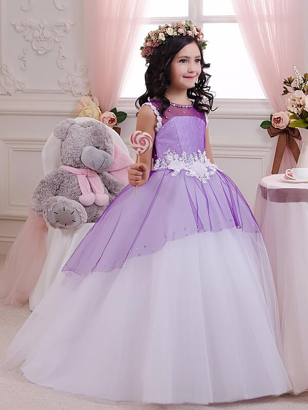 Befits Your Brilliance Ball Gown Jewel Applique Floor-Length Tulle Flower Girl Dresses