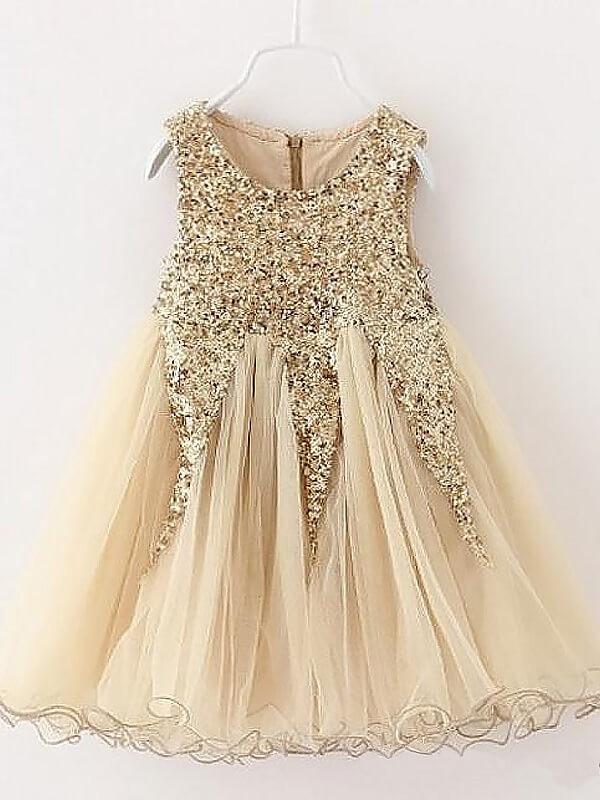 Modern Mood Princess Style Jewel Sequins Tulle Short/Mini Flower Girl Dresses