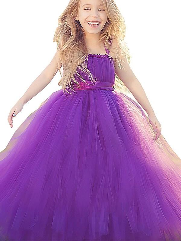 Absolute Lovely Ball Gown Straps Bowknot Floor-Length Tulle Flower Girl Dresses