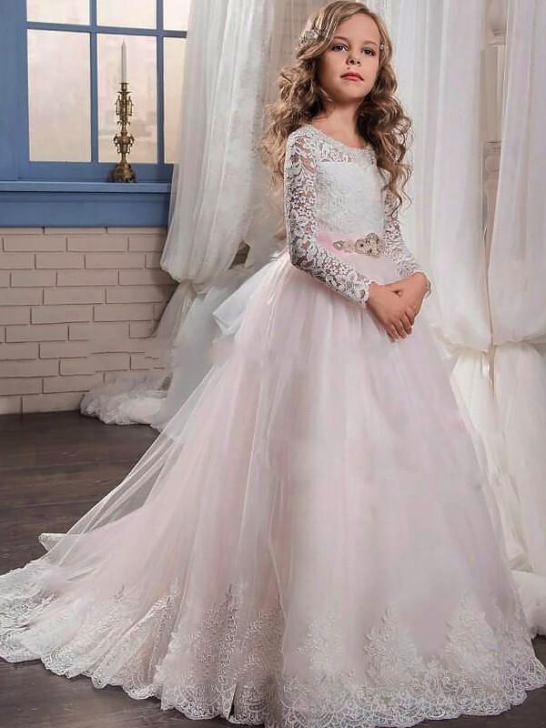 Limitless Looks Ball Gown Jewel Lace Sweep/Brush Train Tulle Flower Girl Dresses