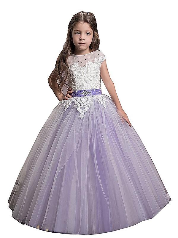 Desired Spotlight Ball Gown Jewel Applique Floor-Length Tulle Flower Girl Dresses