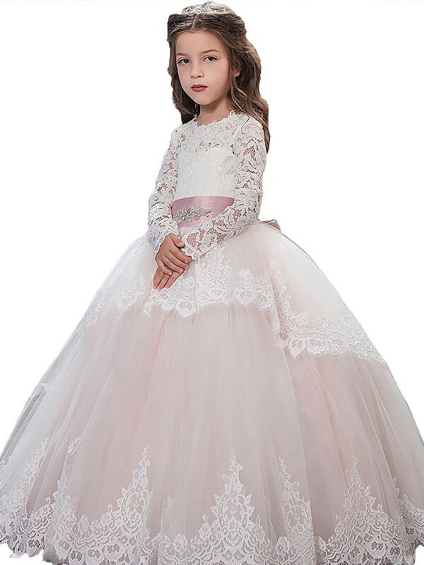 Memorable Magic Ball Gown Jewel Lace Floor-Length Tulle Flower Girl Dresses