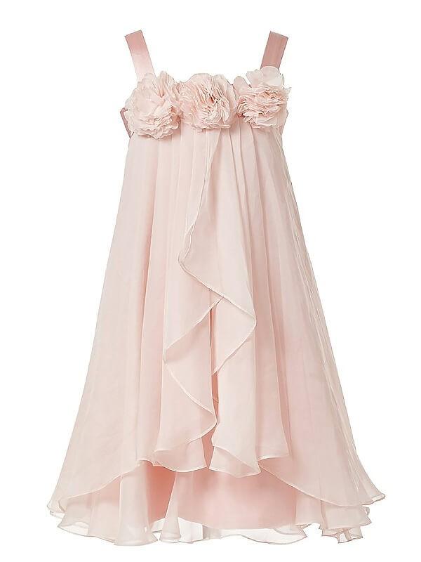 Stylish Refresh Princess Style Straps Hand-Made Flower Chiffon Flower Girl Dresses