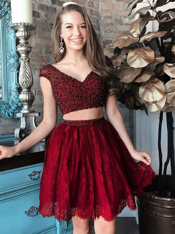 Pleased to be Me Princess Style V-neck Beading Short/Mini Lace Two Piece Dresses