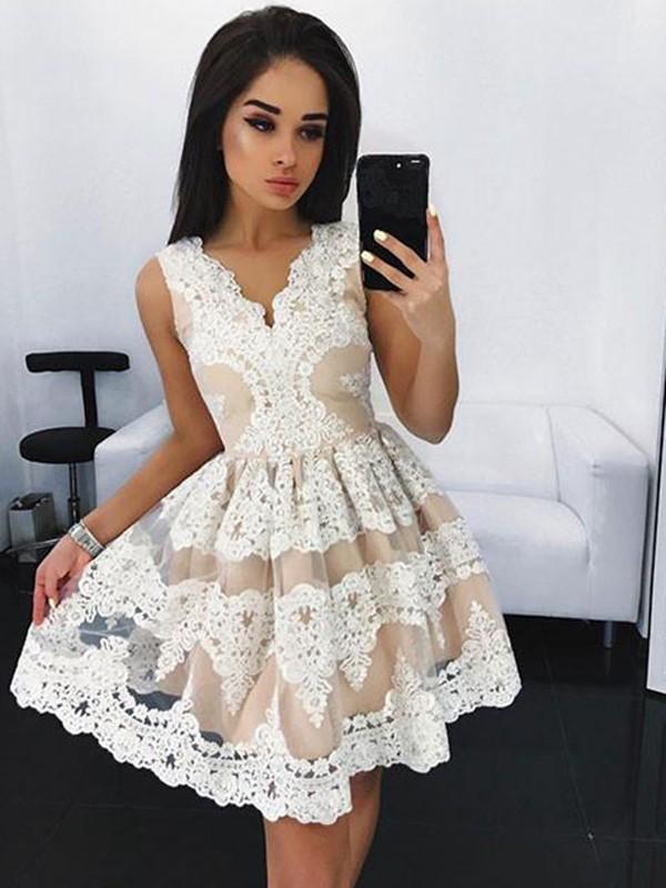 Visual Moment Princess Style V-neck Lace Short/Mini Tulle Dresses