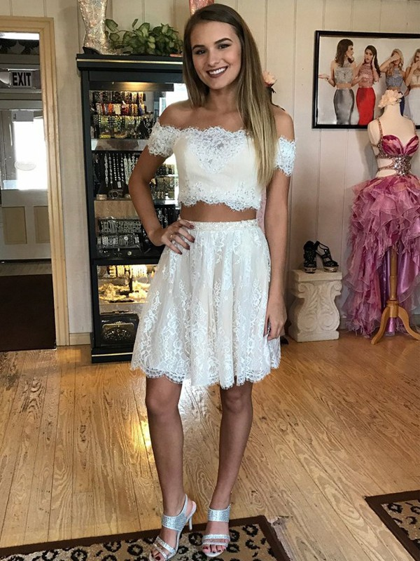 Cheerful Spirit Princess Style Off-the-Shoulder Short/Mini Lace Two Piece Dresses