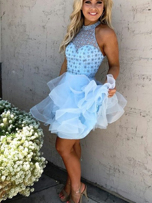 Too Much Fun Princess Style High Neck Beading Short/Mini Tulle Dresses