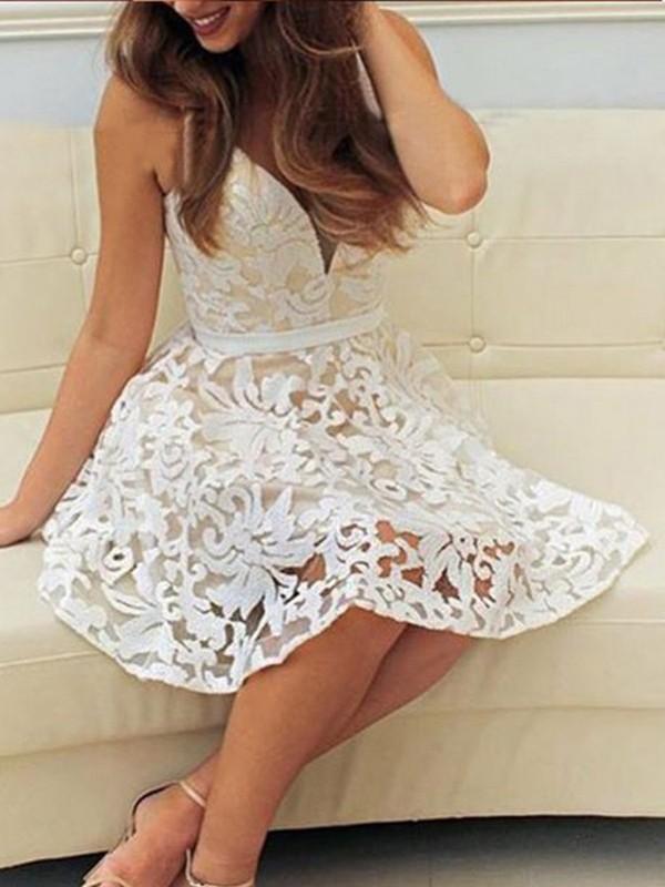 Dancing Queen Princess Style V-neck Short/Mini Lace Dresses