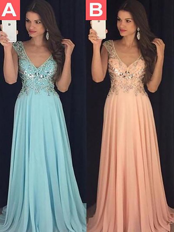 Lively Identity Princess Style V-neck Chiffon Paillette Floor-Length Dresses