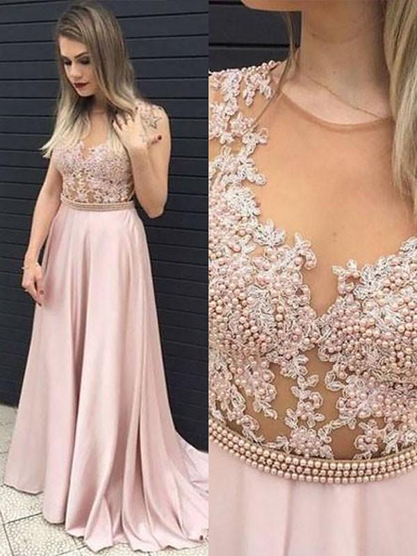 Fresh Picks Princess Style V-neck Satin With Lace Floor-Length Dresses