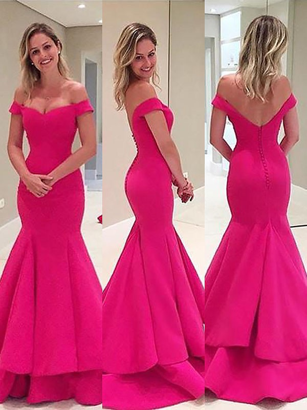 Beautiful You Mermaid Style Off-the-Shoulder Satin With Layers Sweep/Brush Train Dresses