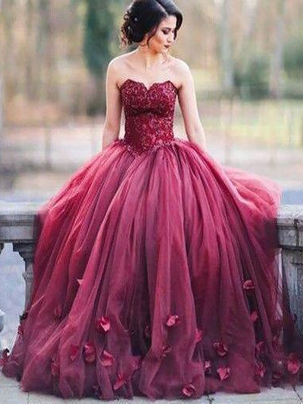 Embracing Grace Ball Gown Sweetheart With Applique Floor-Length Tulle Dresses