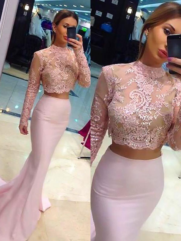 Befits Your Brilliance Sheath Style With Lace Sweep/Brush Train High Neck Satin Two Piece Dresses