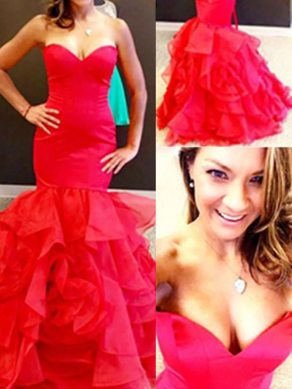 Cordially Delighted Mermaid Style Sweetheart Organza With Layers Floor-Length Dresses