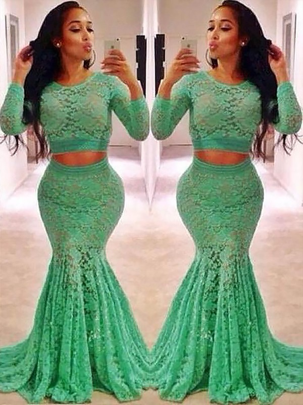 Visual Moment Mermaid Style Scoop Lace With Ruffles Sweep/Brush Train Two Piece Dresses