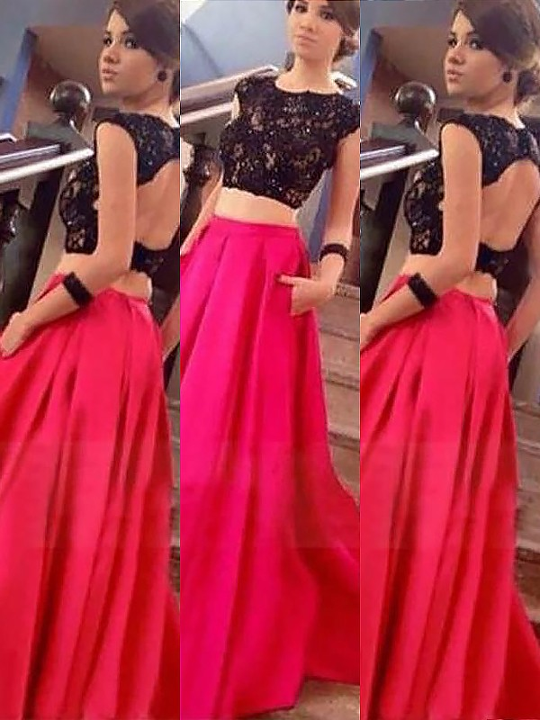 Defined Shine Princess Style Bateau Satin Floor-Length With Lace Two Piece Dresses