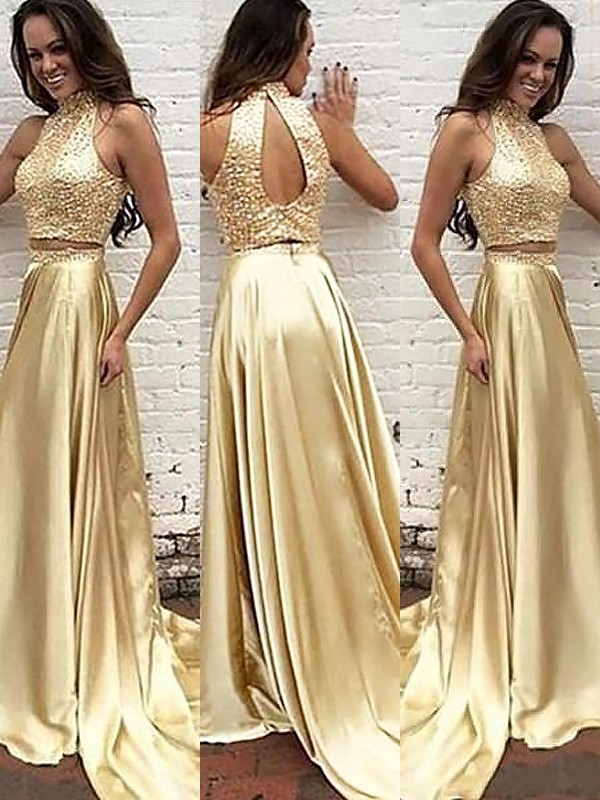 Dashing Darling Princess Style High Neck Satin Sweep/Brush Train With Beading Two Piece Dresses