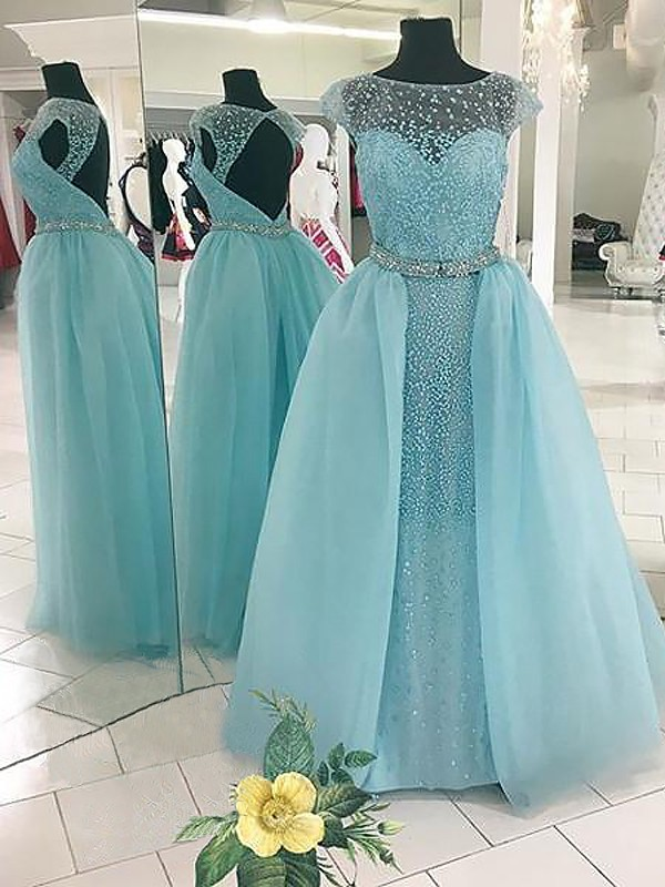Absolute Lovely Ball Gown Bateau With Beading Floor-Length Tulle Dresses