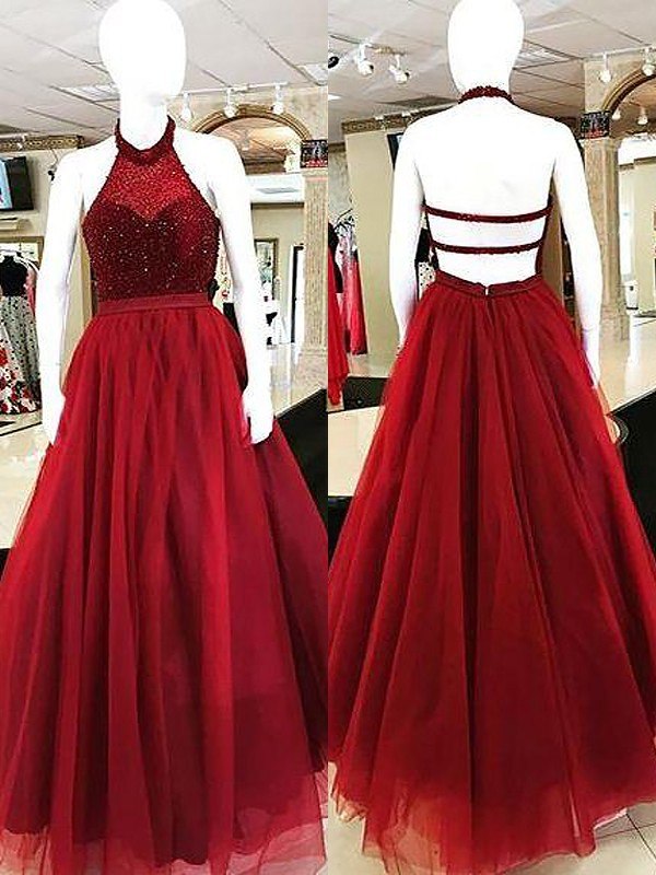 Aesthetic Honesty Ball Gown Halter With Beading Floor-Length Tulle Dresses