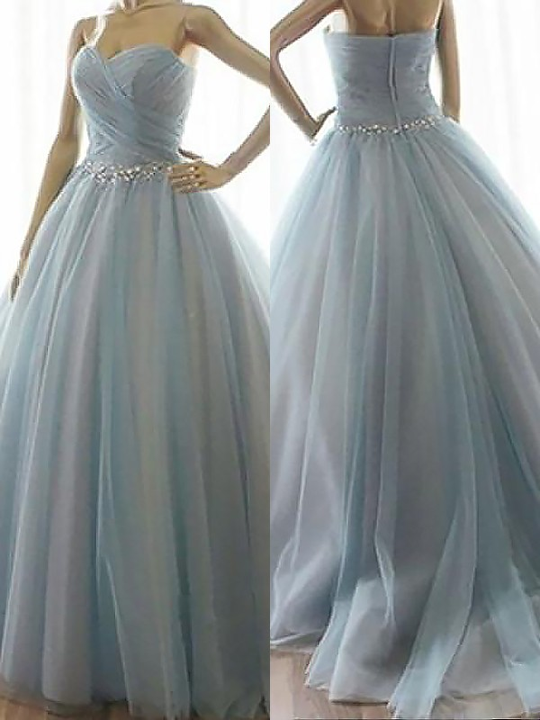 Pleasant Emphasis Ball Gown Sweetheart With Beading Floor-Length Tulle Dresses