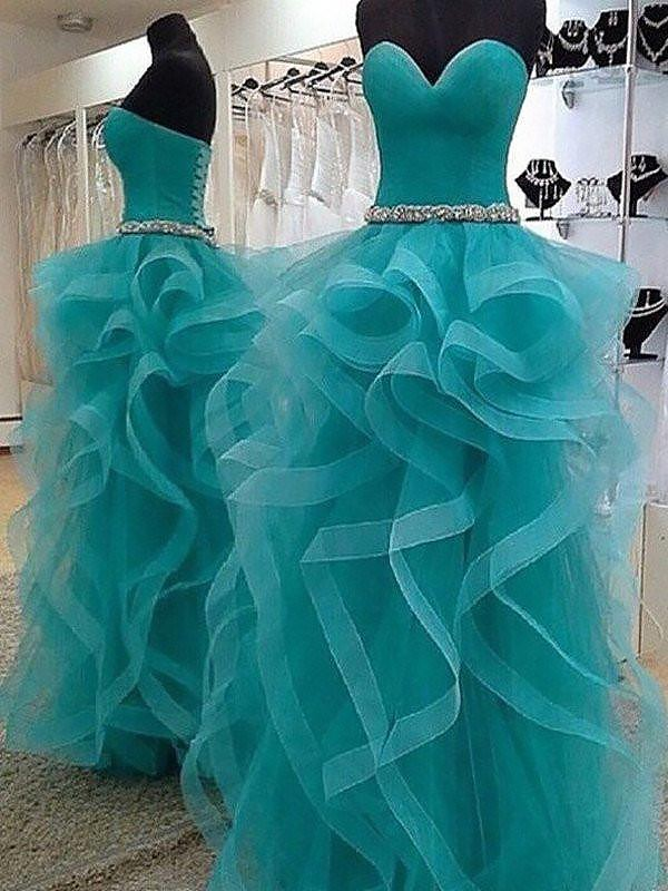 Pretty Looks Ball Gown Sweetheart With Beading Floor-Length Tulle Dresses
